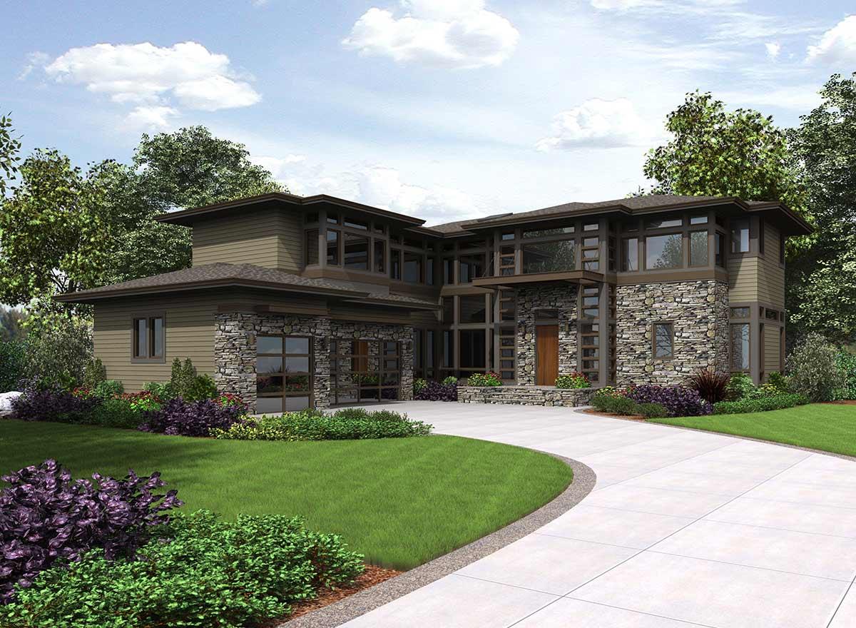 Modern Style House Plans Plan: 88-695