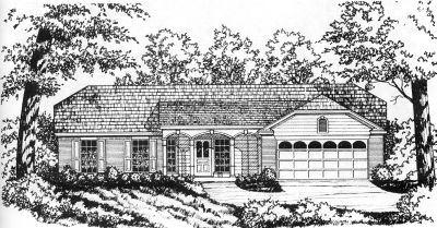 Country Style Home Design Plan: 9-113