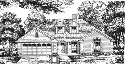 European Style Home Design Plan: 9-137
