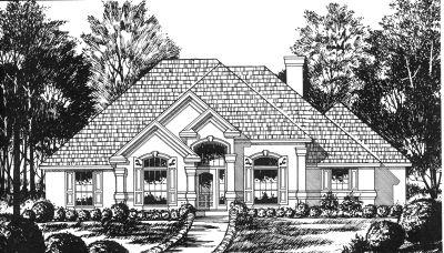 Mediterranean Style Home Design Plan: 9-176