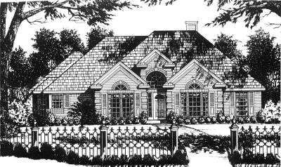 European Style Home Design Plan: 9-181