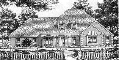 European Style Home Design Plan: 9-195