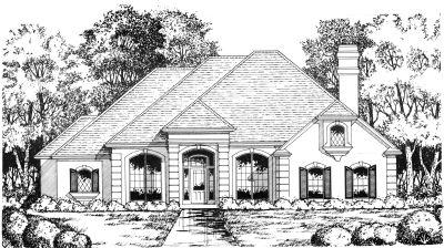Mediterranean Style Home Design Plan: 9-198