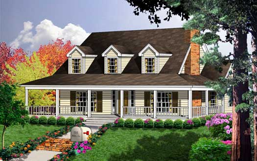 Country Style Home Design Plan: 9-216