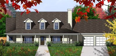 Country Style Home Design Plan: 9-223