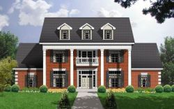 Southern-Colonial Style Home Design Plan: 9-285