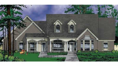 French-country Style Home Design Plan: 9-286
