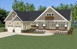 Craftsman Style Home Design Plan: 90-136