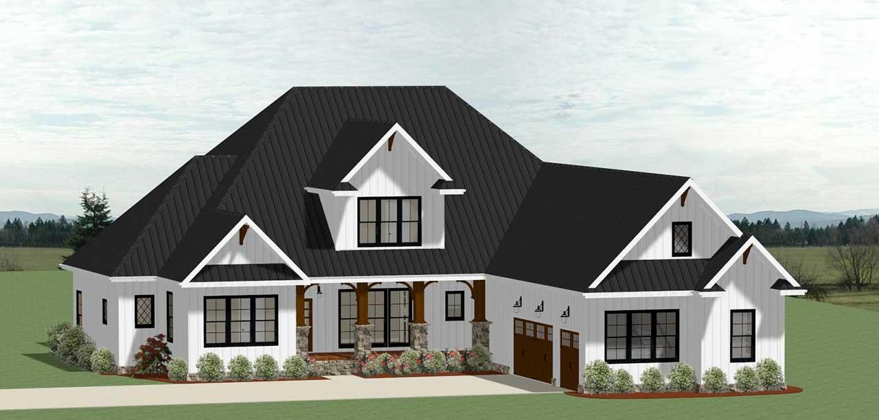 Modern-farmhouse Style Floor Plans Plan: 90-154