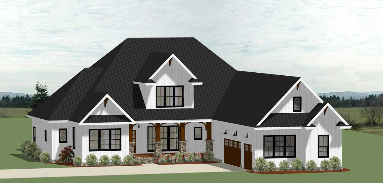 Modern-farmhouse Style Home Design Plan: 90-158