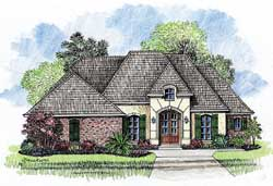 French-Country Style Home Design Plan: 91-101