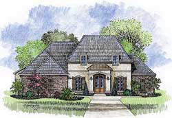 French-Country Style Home Design Plan: 91-103