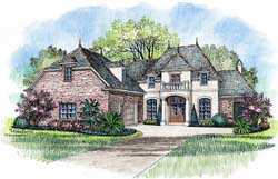 French-Country Style Home Design Plan: 91-110