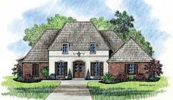 French-Country Style Home Design Plan: 91-111