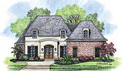 French-Country Style Home Design Plan: 91-115