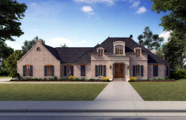 French-country Style Home Design Plan: 91-116
