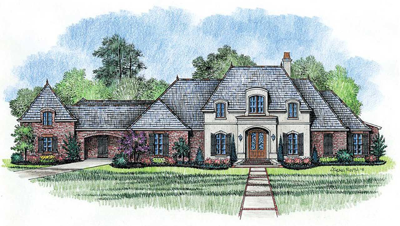 French-country Style Home Design Plan: 91-117