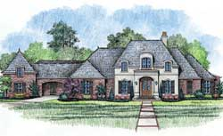 French-Country Style Floor Plans Plan: 91-117