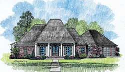 Southern Style Home Design Plan: 91-121