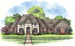 French-Country Style House Plans Plan: 91-123