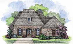 French-Country Style Home Design Plan: 91-124