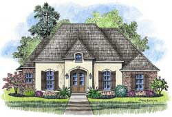 French-Country Style House Plans Plan: 91-126