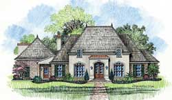 French-Country Style House Plans Plan: 91-127