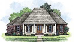 Southern Style Home Design Plan: 91-132