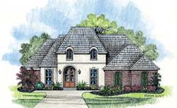 French-Country Style Home Design Plan: 91-135