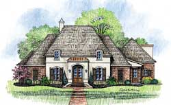 French-Country Style House Plans Plan: 91-139