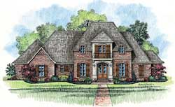 French-Country Style Home Design Plan: 91-140