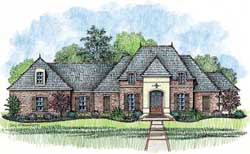 French-Country Style Home Design Plan: 91-142