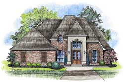 French-Country Style Home Design Plan: 91-145