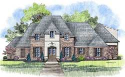 French-Country Style Home Design Plan: 91-151
