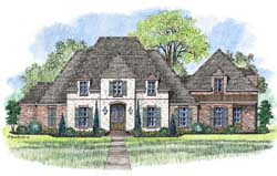 French-Country Style Home Design Plan: 91-157