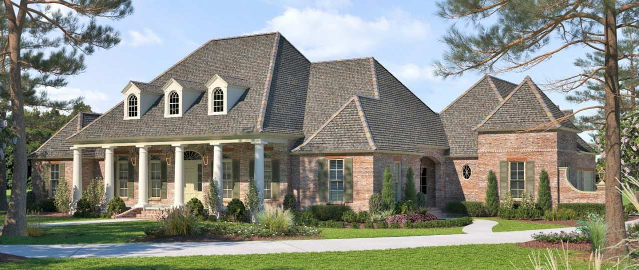 French-country Style Home Design Plan: 91-162