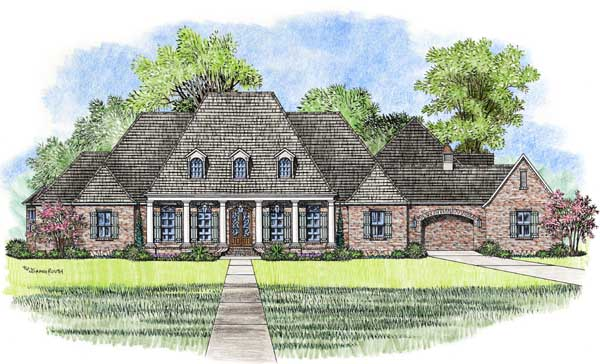 French-country Style Home Design Plan: 91-163