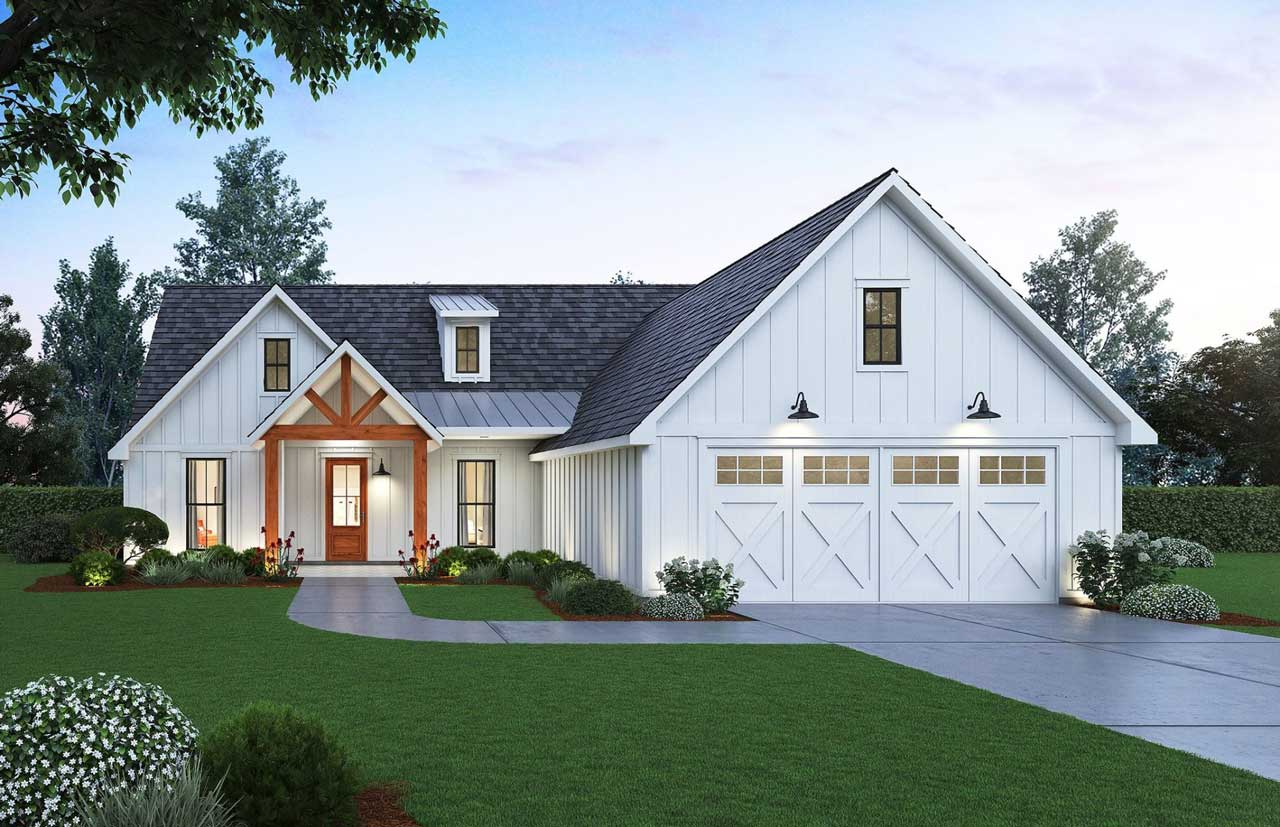 Modern-farmhouse Style House Plans Plan: 91-165
