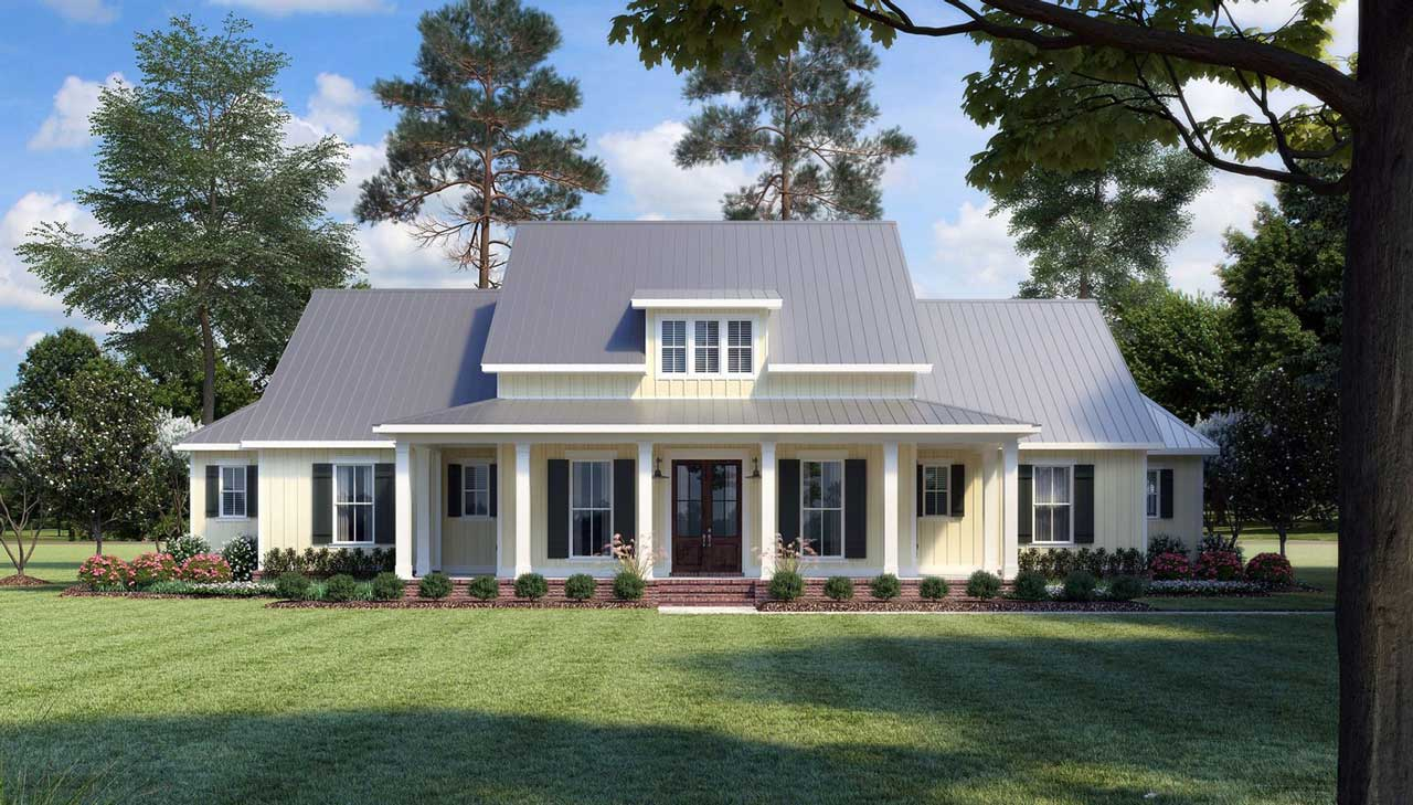 Modern-farmhouse Style Floor Plans 91-166