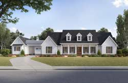Modern-Farmhouse Style Home Design Plan: 91-167