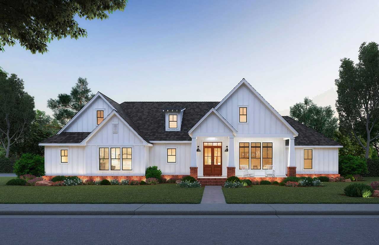Modern-farmhouse Style House Plans Plan: 91-168