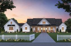 Modern-Farmhouse Style Home Design Plan: 91-175