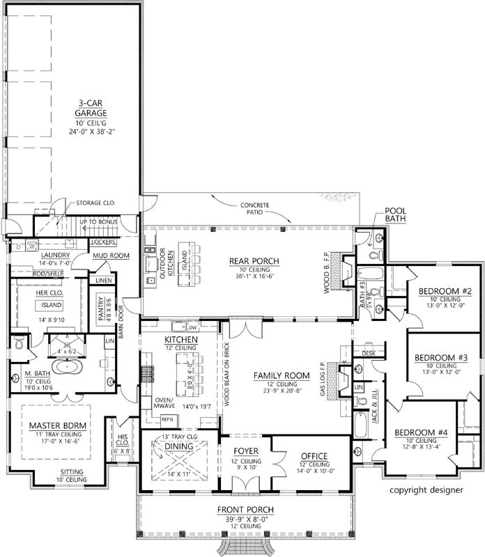 French-country Style Floor Plans 91-178
