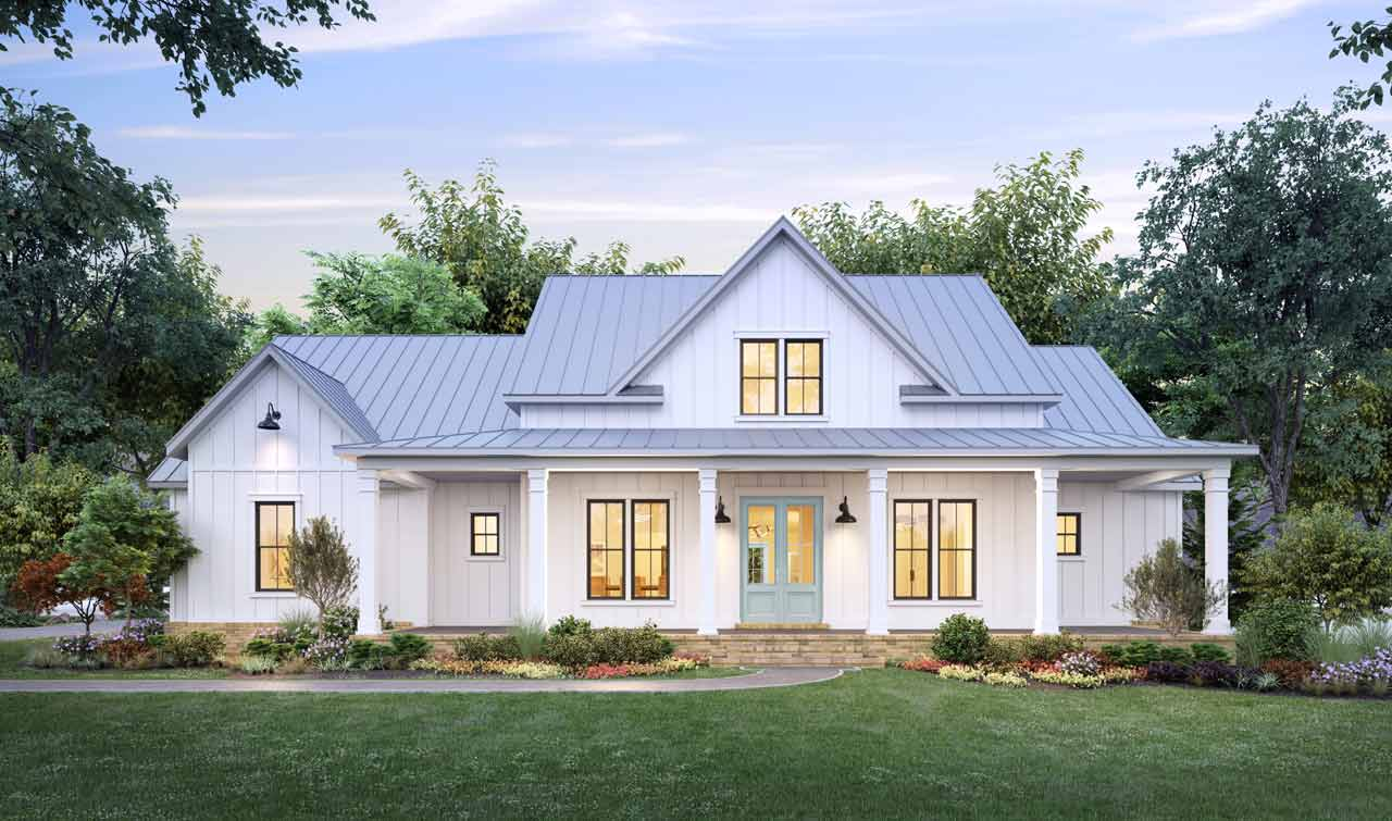 Modern-farmhouse Style House Plans Plan: 91-180