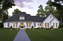 French-Country Style Home Design Plan: 91-183