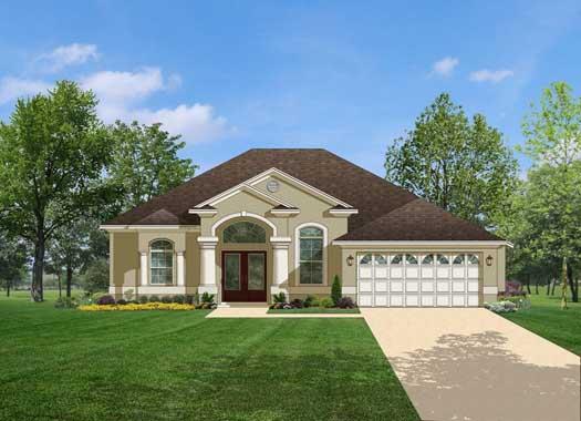 Mediterranean Style Home Design Plan: 95-128