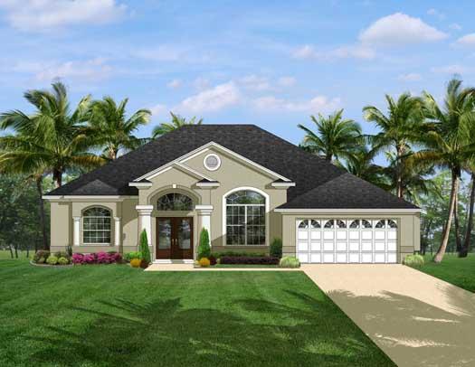 Mediterranean Style Home Design Plan: 95-132