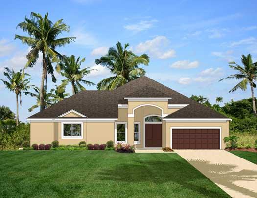 Mediterranean Style Home Design Plan: 95-136