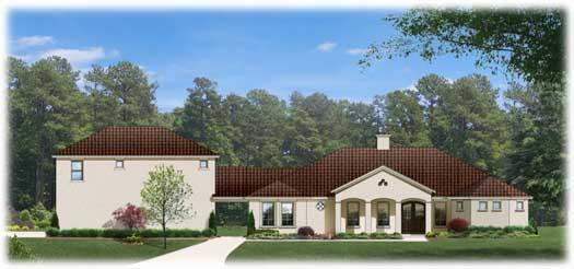 Mediterranean Style Home Design Plan: 95-173