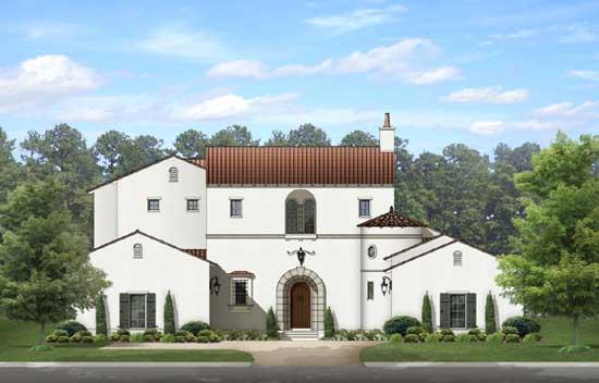 Spanish Style Home Design Plan: 95-229